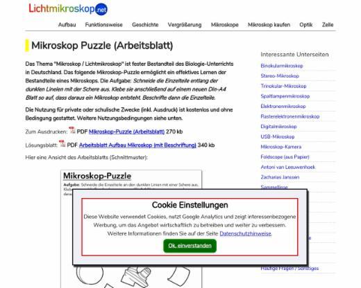 Mikroskop Puzzle (Arbeitsblatt) | edutags