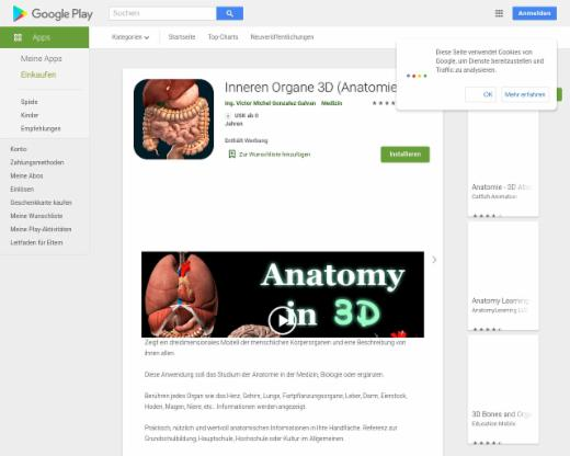 Inneren Organe 3D (Anatomie) – Android-Apps auf Google Play | edutags