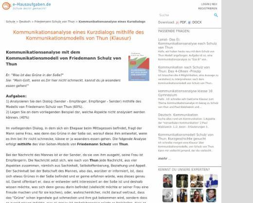 Kommunikationsanalyse Eines Kurzdialogs Mithilfe Des Kommunikationsmodells Von Thun Klausur Friedemann Schulz Von Thun Edutags