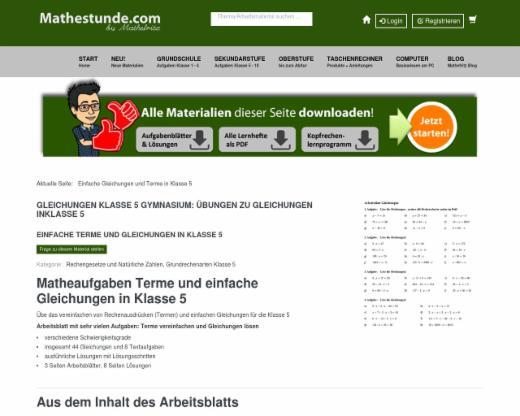 Arbeitsblatt Gleichungen lösen | Matheaufgaben für Klasse 5 | edutags